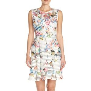 Gabby Skye Dress 8 Fit & Flare Ivory Pink Floral